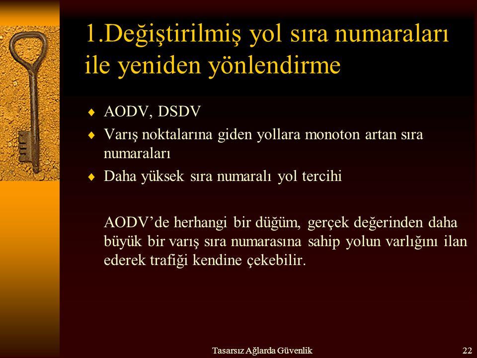 Tasarsız Ağlarda Güvenlik22 1.Değiştirilmiş yol sıra numaraları ile yeniden yönlendirme  AODV, DSDV  Varış noktalarına giden yollara monoton artan s