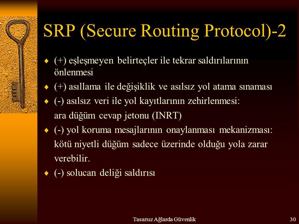 Tasarsız Ağlarda Güvenlik30 SRP (Secure Routing Protocol)-2  (+) eşleşmeyen belirteçler ile tekrar saldırılarının önlenmesi  (+) asıllama ile değişi