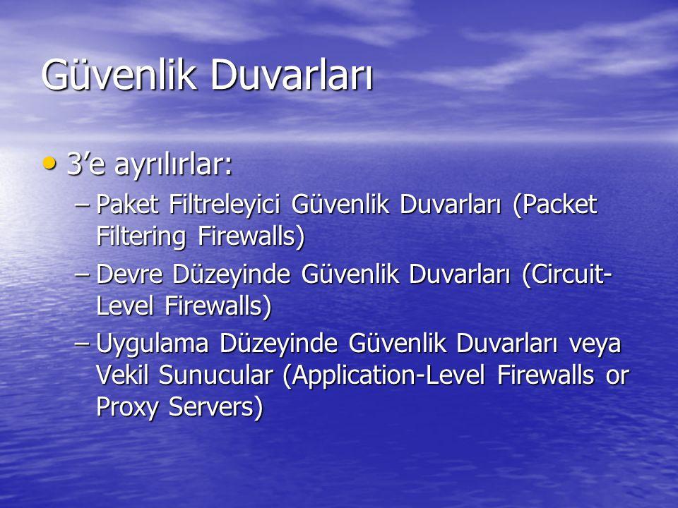 3'e ayrılırlar: 3'e ayrılırlar: –Paket Filtreleyici Güvenlik Duvarları (Packet Filtering Firewalls) –Devre Düzeyinde Güvenlik Duvarları (Circuit- Level Firewalls) –Uygulama Düzeyinde Güvenlik Duvarları veya Vekil Sunucular (Application-Level Firewalls or Proxy Servers)