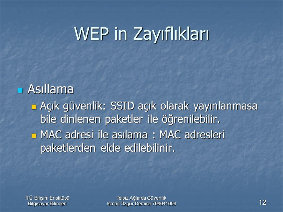 İTÜ Bilişim Enstitüsü Bilgisayar Bilimleri Telsiz Ağlarda Güvenlik İsmail Özgür Demirel 704041008 12 WEP in Zayıflıkları Asıllama Asıllama Açık güvenl
