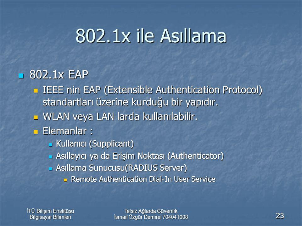 İTÜ Bilişim Enstitüsü Bilgisayar Bilimleri Telsiz Ağlarda Güvenlik İsmail Özgür Demirel 704041008 23 802.1x ile Asıllama 802.1x EAP 802.1x EAP IEEE nin EAP (Extensible Authentication Protocol) standartları üzerine kurduğu bir yapıdır.