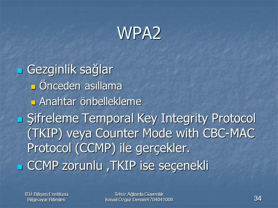 İTÜ Bilişim Enstitüsü Bilgisayar Bilimleri Telsiz Ağlarda Güvenlik İsmail Özgür Demirel 704041008 34 WPA2 Gezginlik sağlar Gezginlik sağlar Önceden asıllama Önceden asıllama Anahtar önbellekleme Anahtar önbellekleme Şifreleme Temporal Key Integrity Protocol (TKIP) veya Counter Mode with CBC-MAC Protocol (CCMP) ile gerçekler.