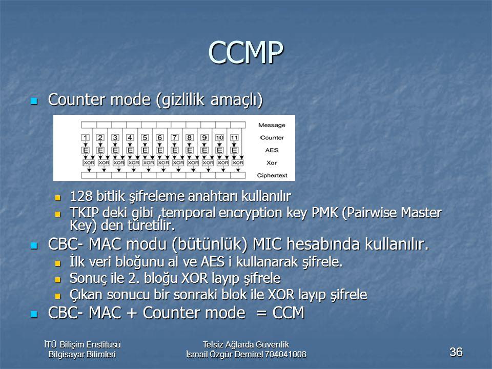 İTÜ Bilişim Enstitüsü Bilgisayar Bilimleri Telsiz Ağlarda Güvenlik İsmail Özgür Demirel 704041008 36 CCMP Counter mode (gizlilik amaçlı) Counter mode