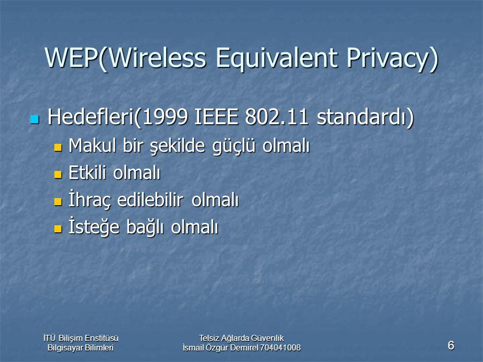 İTÜ Bilişim Enstitüsü Bilgisayar Bilimleri Telsiz Ağlarda Güvenlik İsmail Özgür Demirel 704041008 6 WEP(Wireless Equivalent Privacy) Hedefleri(1999 IEEE 802.11 standardı) Hedefleri(1999 IEEE 802.11 standardı) Makul bir şekilde güçlü olmalı Makul bir şekilde güçlü olmalı Etkili olmalı Etkili olmalı İhraç edilebilir olmalı İhraç edilebilir olmalı İsteğe bağlı olmalı İsteğe bağlı olmalı
