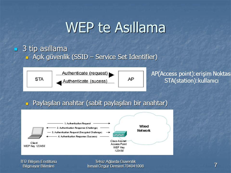 İTÜ Bilişim Enstitüsü Bilgisayar Bilimleri Telsiz Ağlarda Güvenlik İsmail Özgür Demirel 704041008 7 WEP te Asıllama 3 tip asıllama 3 tip asıllama Açık güvenlik (SSID – Service Set Identifier) Açık güvenlik (SSID – Service Set Identifier) Paylaşılan anahtar (sabit paylaşılan bir anahtar) Paylaşılan anahtar (sabit paylaşılan bir anahtar) AP(Access point):erişim Noktası STA(station):kullanıcı