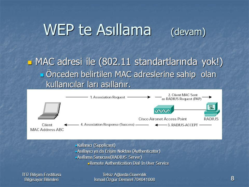 İTÜ Bilişim Enstitüsü Bilgisayar Bilimleri Telsiz Ağlarda Güvenlik İsmail Özgür Demirel 704041008 8 WEP te Asıllama (devam) MAC adresi ile (802.11 standartlarında yok!) MAC adresi ile (802.11 standartlarında yok!) Önceden belirtilen MAC adreslerine sahip olan kullanıcılar ları asıllanır.