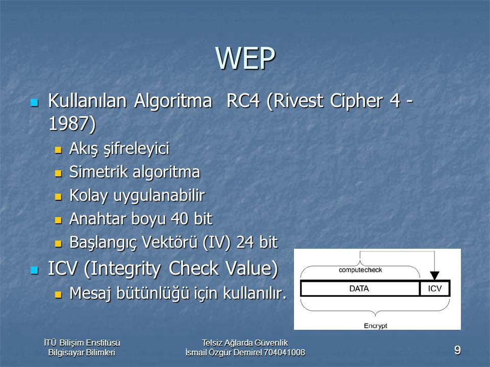 İTÜ Bilişim Enstitüsü Bilgisayar Bilimleri Telsiz Ağlarda Güvenlik İsmail Özgür Demirel 704041008 9 WEP Kullanılan Algoritma RC4 (Rivest Cipher 4 - 1987) Kullanılan Algoritma RC4 (Rivest Cipher 4 - 1987) Akış şifreleyici Akış şifreleyici Simetrik algoritma Simetrik algoritma Kolay uygulanabilir Kolay uygulanabilir Anahtar boyu 40 bit Anahtar boyu 40 bit Başlangıç Vektörü (IV) 24 bit Başlangıç Vektörü (IV) 24 bit ICV (Integrity Check Value) ICV (Integrity Check Value) Mesaj bütünlüğü için kullanılır.
