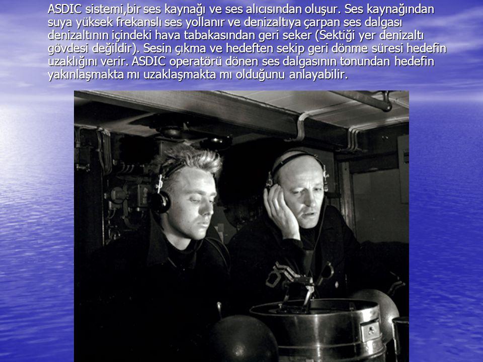 ASDIC sistemi,bir ses kaynağı ve ses alıcısından oluşur. Ses kaynağından suya yüksek frekanslı ses yollanır ve denizaltıya çarpan ses dalgası denizalt