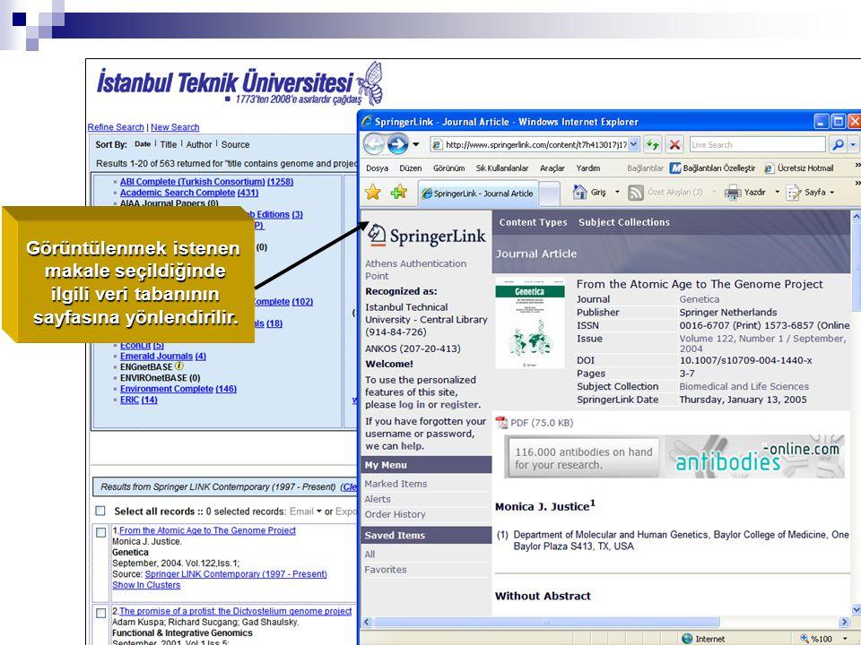 Görüntülenmek istenen makale seçildiğinde ilgili veri tabanının ilgili veri tabanının sayfasına yönlendirilir.