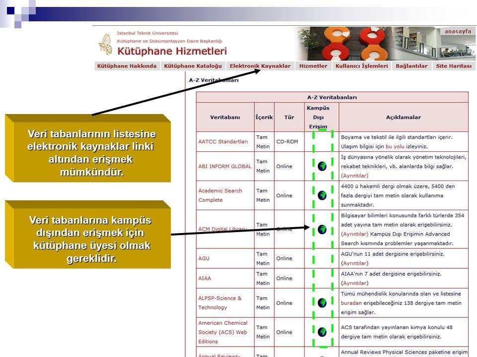 Veri tabanlarının listesine elektronik kaynaklar linki altından erişmek mümkündür.