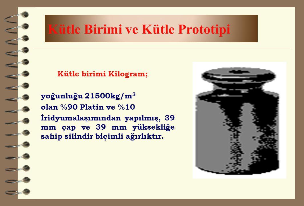 Kütle Birimi ve Kütle Prototipi Kütle birimi Kilogram; yoğunluğu 21500kg/m 3 olan %90 Platin ve %10 İridyumalaşımından yapılmış, 39 mm çap ve 39 mm yü