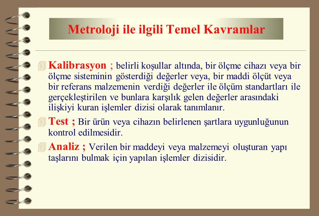 Metroloji ile ilgili Temel Kavramlar 4 Kalibrasyon ; belirli koşullar altında, bir ölçme cihazı veya bir ölçme sisteminin gösterdiği değerler veya, bi