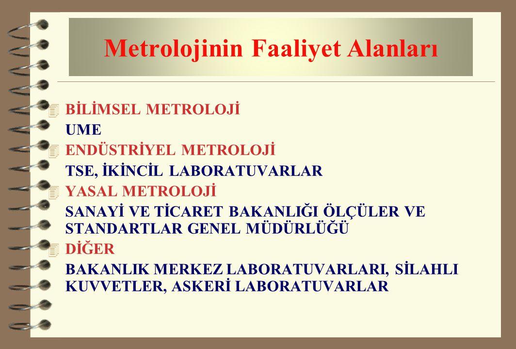 Metrolojinin Faaliyet Alanları 4 BİLİMSEL METROLOJİ UME 4 ENDÜSTRİYEL METROLOJİ TSE, İKİNCİL LABORATUVARLAR 4 YASAL METROLOJİ SANAYİ VE TİCARET BAKANL