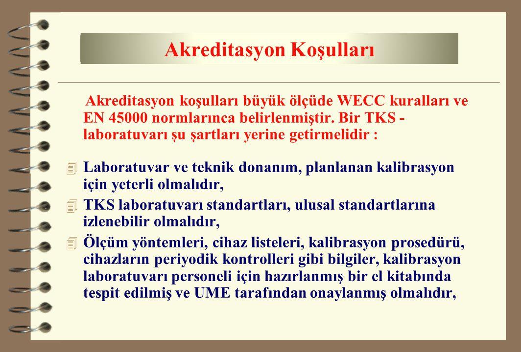 Akreditasyon koşulları büyük ölçüde WECC kuralları ve EN 45000 normlarınca belirlenmiştir. Bir TKS - laboratuvarı şu şartları yerine getirmelidir : 4