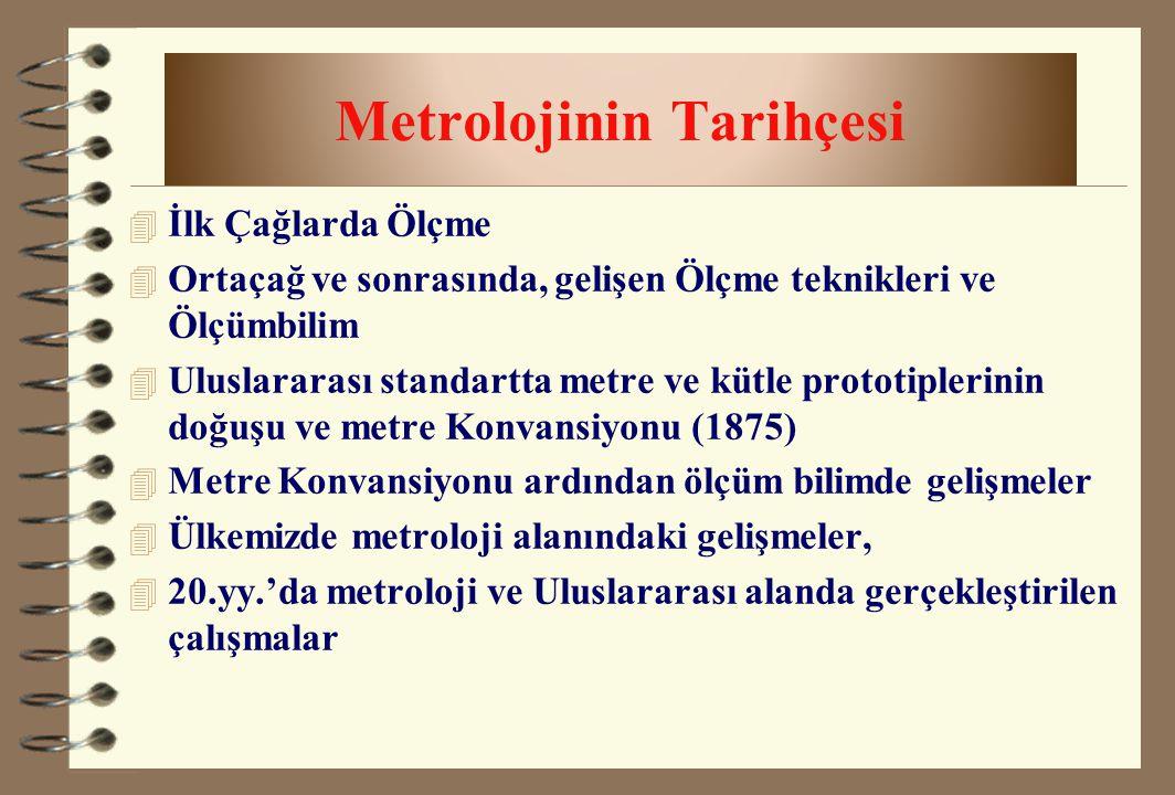 Metrolojinin Tarihçesi 4 İlk Çağlarda Ölçme 4 Ortaçağ ve sonrasında, gelişen Ölçme teknikleri ve Ölçümbilim 4 Uluslararası standartta metre ve kütle p