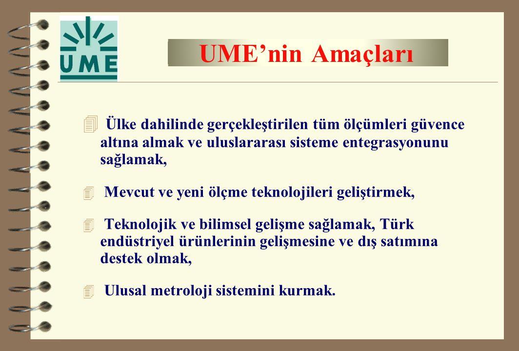 UME'nin Amaçları 4 Ülke dahilinde gerçekleştirilen tüm ölçümleri güvence altına almak ve uluslararası sisteme entegrasyonunu sağlamak, 4 Mevcut ve yen