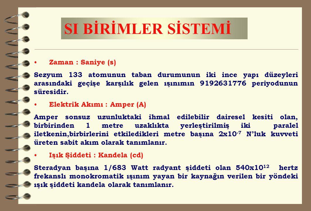SI BİRİMLER SİSTEMİ Zaman : Saniye (s) Sezyum 133 atomunun taban durumunun iki ince yapı düzeyleri arasındaki geçişe karşılık gelen ışınımın 919263177