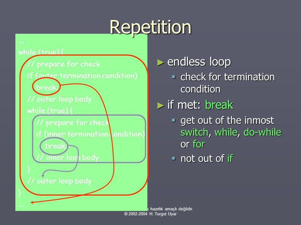 Bu sunumlar sınavlara hazırlık amaçlı değildir. © 2002-2004 H. Turgut Uyar... while (true) { // prepare for check if (outer termination condition) bre