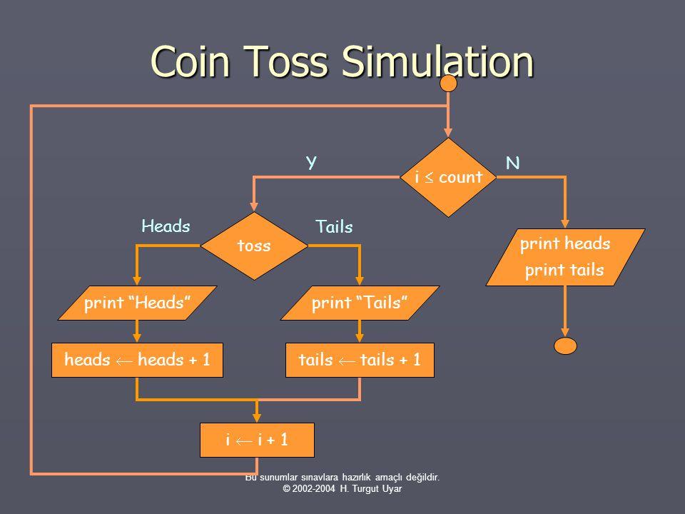 Bu sunumlar sınavlara hazırlık amaçlı değildir. © 2002-2004 H. Turgut Uyar Coin Toss Simulation Y i  count N print heads print tails toss i  i + 1 t