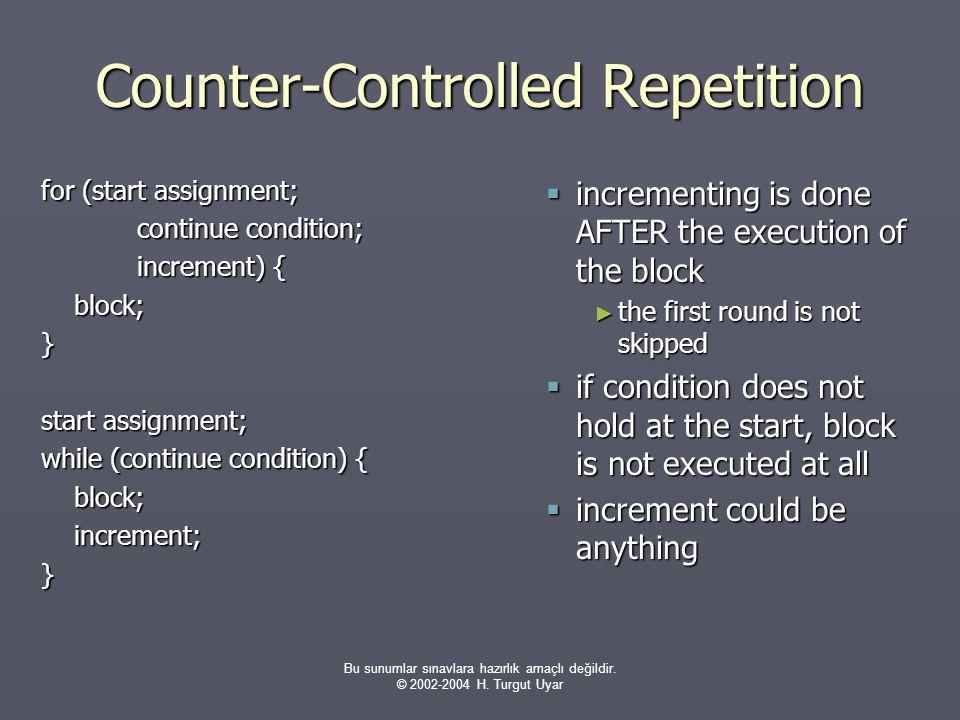 Bu sunumlar sınavlara hazırlık amaçlı değildir. © 2002-2004 H. Turgut Uyar Counter-Controlled Repetition for (start assignment; continue condition; in