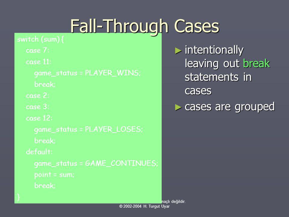 Bu sunumlar sınavlara hazırlık amaçlı değildir. © 2002-2004 H. Turgut Uyar switch (sum) { case 7: case 11: game_status = PLAYER_WINS; break; case 2: c