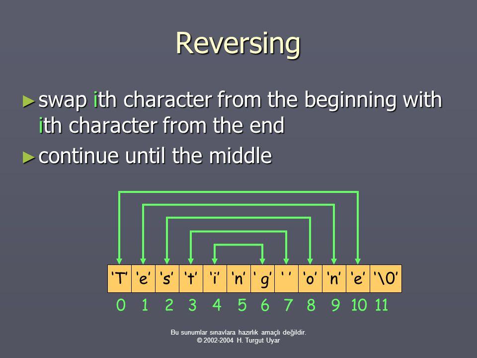 Bu sunumlar sınavlara hazırlık amaçlı değildir. © 2002-2004 H. Turgut Uyar Reversing ► swap ith character from the beginning with ith character from t