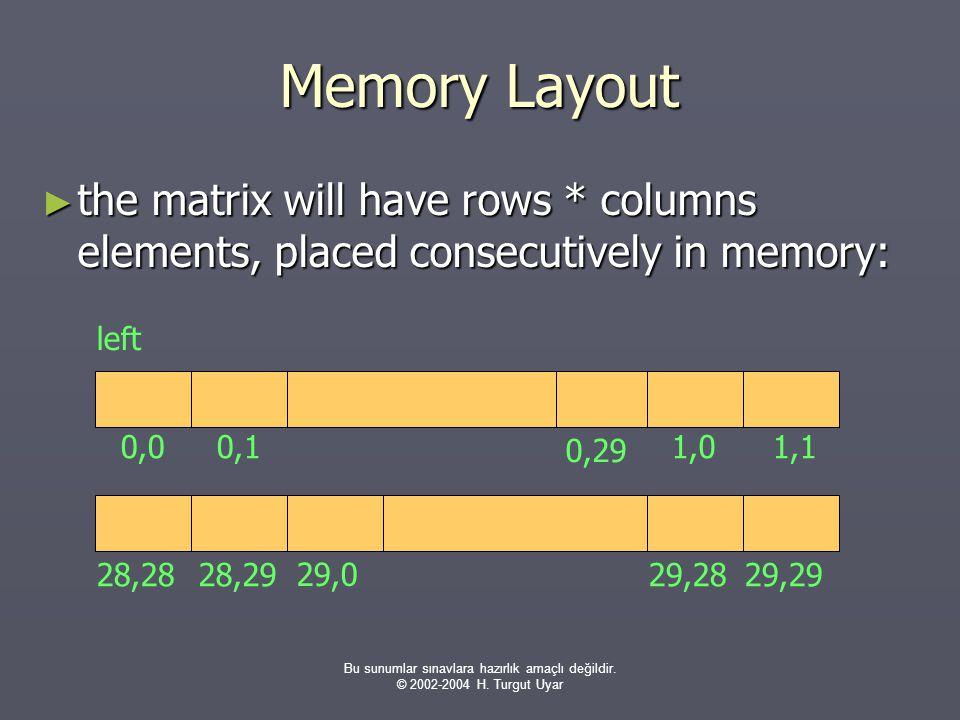 Bu sunumlar sınavlara hazırlık amaçlı değildir. © 2002-2004 H. Turgut Uyar Memory Layout ► the matrix will have rows * columns elements, placed consec