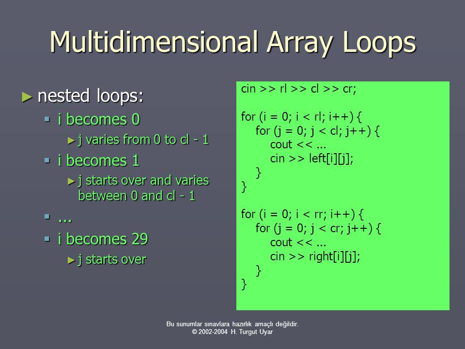 Bu sunumlar sınavlara hazırlık amaçlı değildir. © 2002-2004 H. Turgut Uyar Multidimensional Array Loops ► nested loops:  i becomes 0 ► j varies from