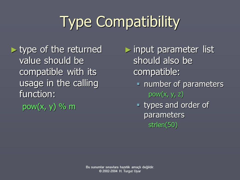 Bu sunumlar sınavlara hazırlık amaçlı değildir. © 2002-2004 H. Turgut Uyar Type Compatibility ► type of the returned value should be compatible with i