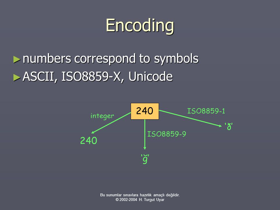 Bu sunumlar sınavlara hazırlık amaçlı değildir. © 2002-2004 H. Turgut Uyar Encoding ► numbers correspond to symbols ► ASCII, ISO8859-X, Unicode 240 in