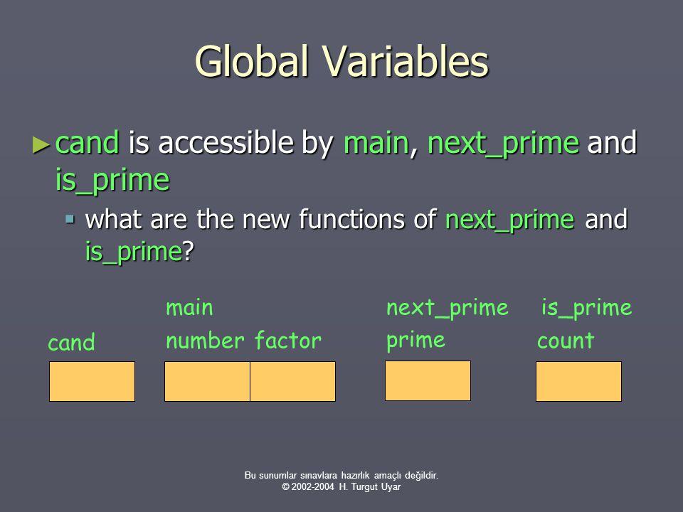 Bu sunumlar sınavlara hazırlık amaçlı değildir. © 2002-2004 H. Turgut Uyar Global Variables ► cand is accessible by main, next_prime and is_prime  wh