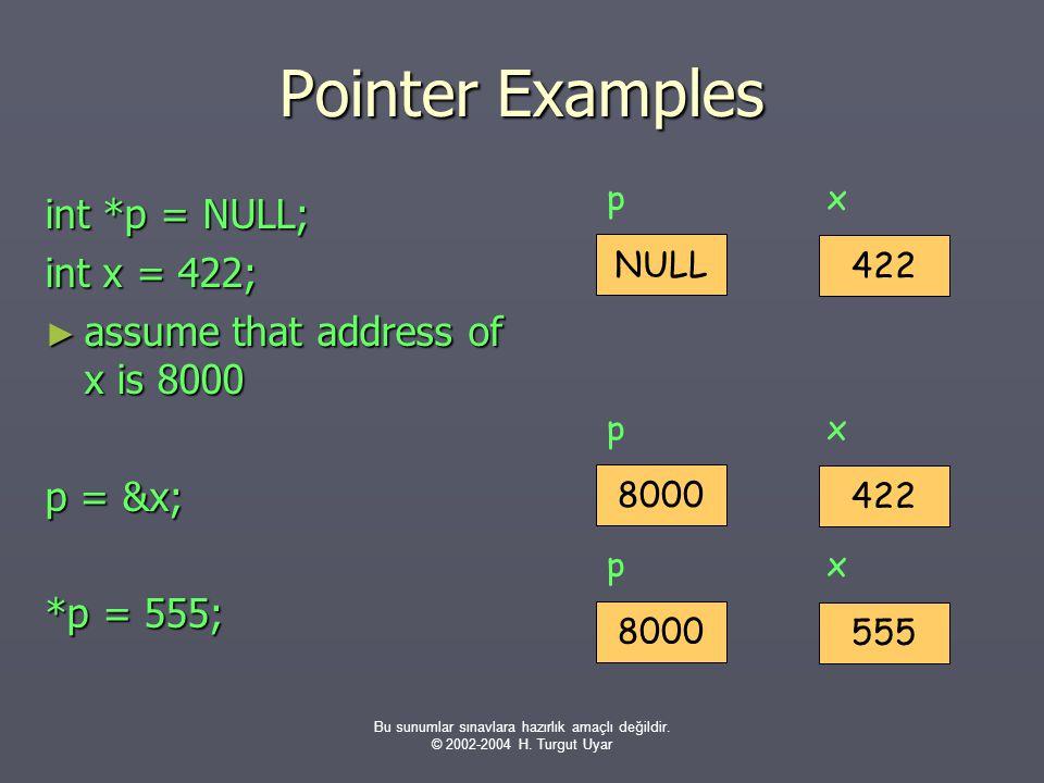 Bu sunumlar sınavlara hazırlık amaçlı değildir. © 2002-2004 H. Turgut Uyar Pointer Examples int *p = NULL; int x = 422; ► assume that address of x is