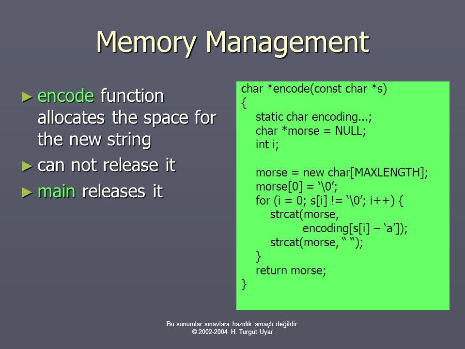 Bu sunumlar sınavlara hazırlık amaçlı değildir. © 2002-2004 H. Turgut Uyar Memory Management ► encode function allocates the space for the new string