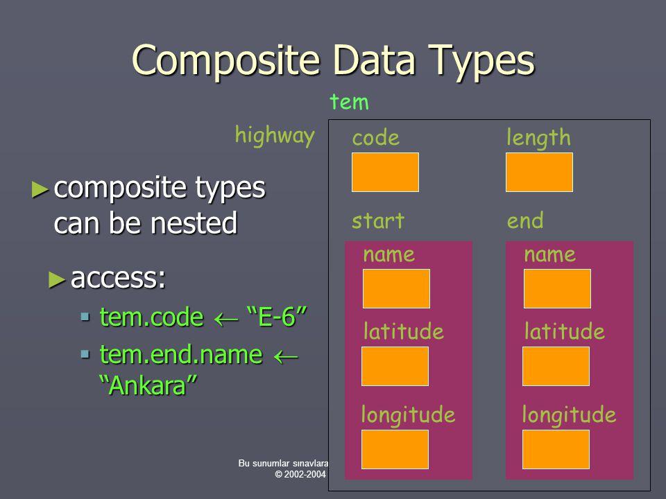 Bu sunumlar sınavlara hazırlık amaçlı değildir. © 2002-2004 H. Turgut Uyar Composite Data Types ► composite types can be nested ► access:  tem.code 
