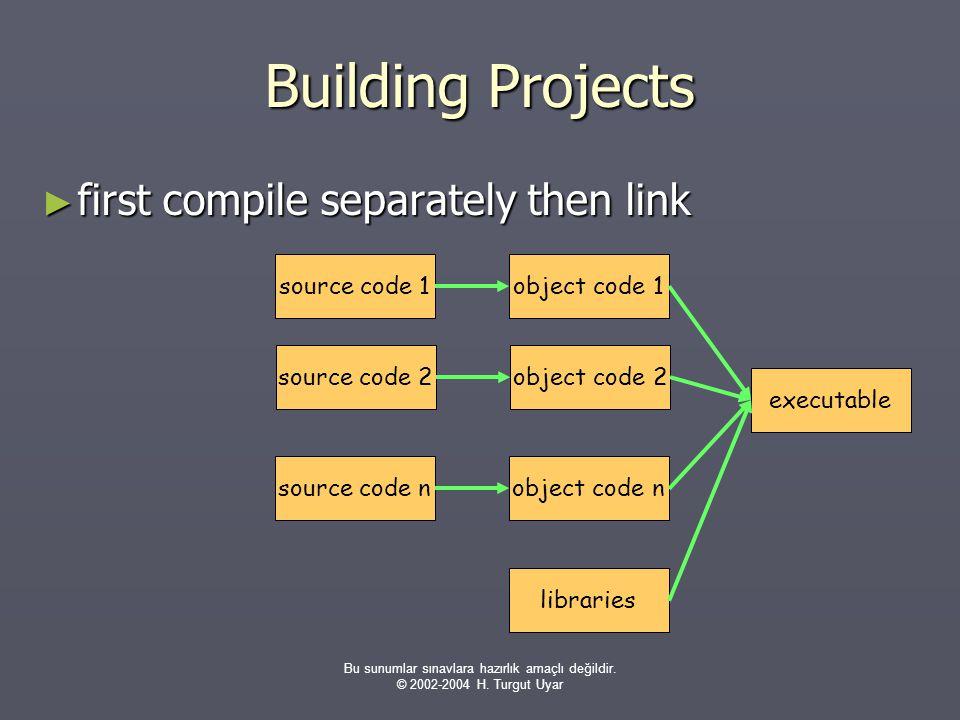 Bu sunumlar sınavlara hazırlık amaçlı değildir. © 2002-2004 H. Turgut Uyar Building Projects ► first compile separately then link source code nobject