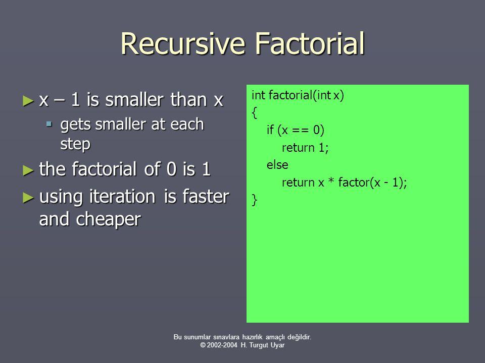Bu sunumlar sınavlara hazırlık amaçlı değildir. © 2002-2004 H. Turgut Uyar Recursive Factorial ► x – 1 is smaller than x  gets smaller at each step ►