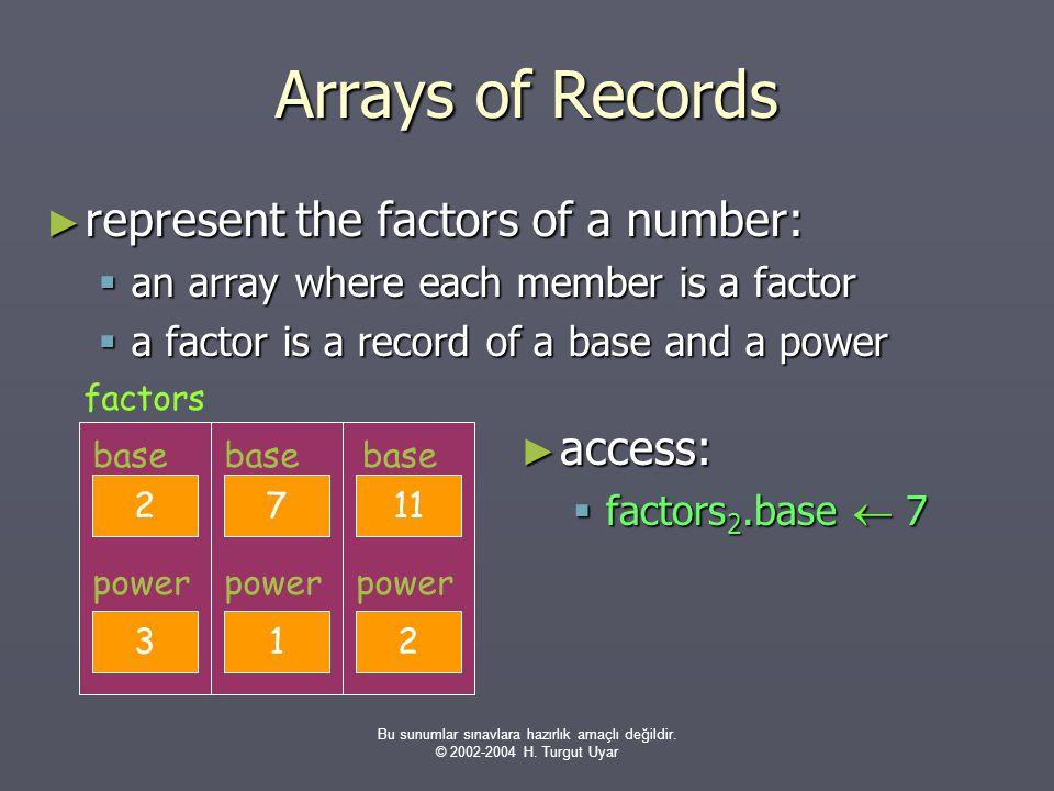 Bu sunumlar sınavlara hazırlık amaçlı değildir. © 2002-2004 H. Turgut Uyar Arrays of Records ► represent the factors of a number:  an array where eac