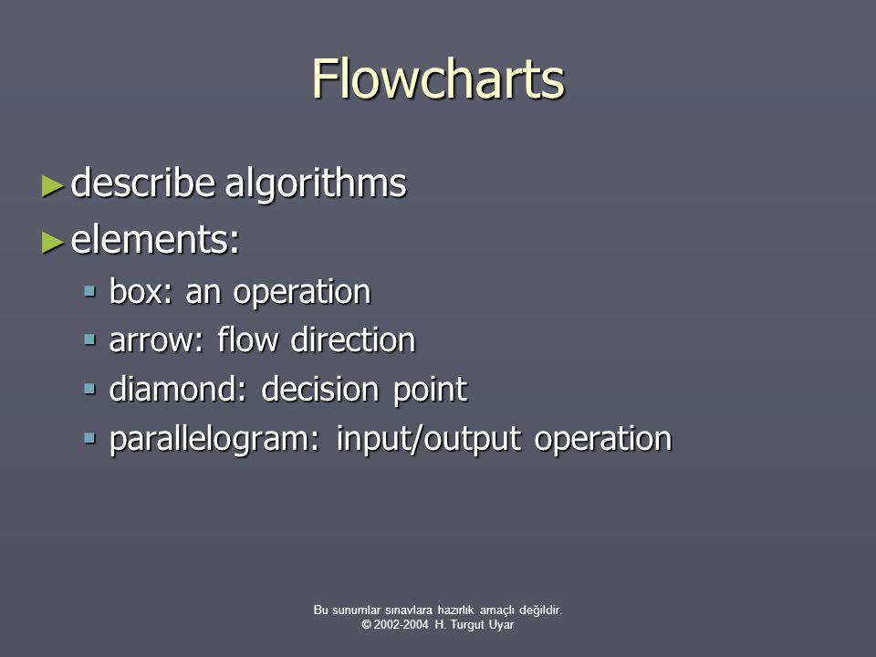 Bu sunumlar sınavlara hazırlık amaçlı değildir. © 2002-2004 H. Turgut Uyar Flowcharts ► describe algorithms ► elements:  box: an operation  arrow: f