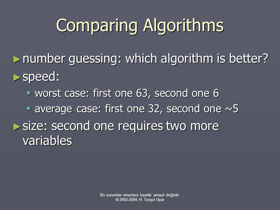 Bu sunumlar sınavlara hazırlık amaçlı değildir. © 2002-2004 H. Turgut Uyar Comparing Algorithms ► number guessing: which algorithm is better? ► speed: