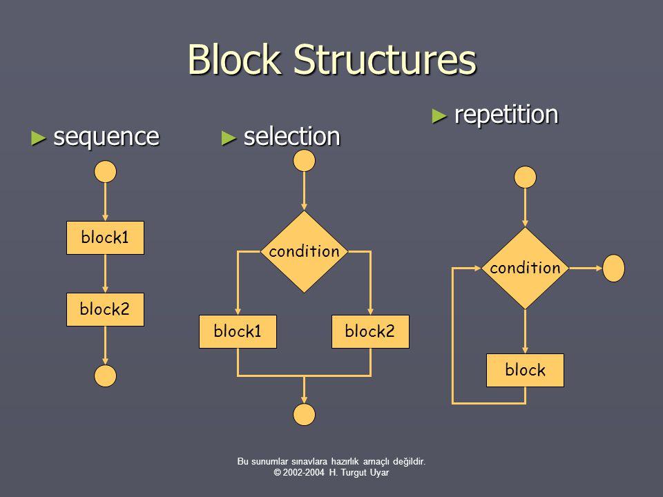 Bu sunumlar sınavlara hazırlık amaçlı değildir. © 2002-2004 H. Turgut Uyar Block Structures ► sequence ► selection ► repetition block1 block2 conditio