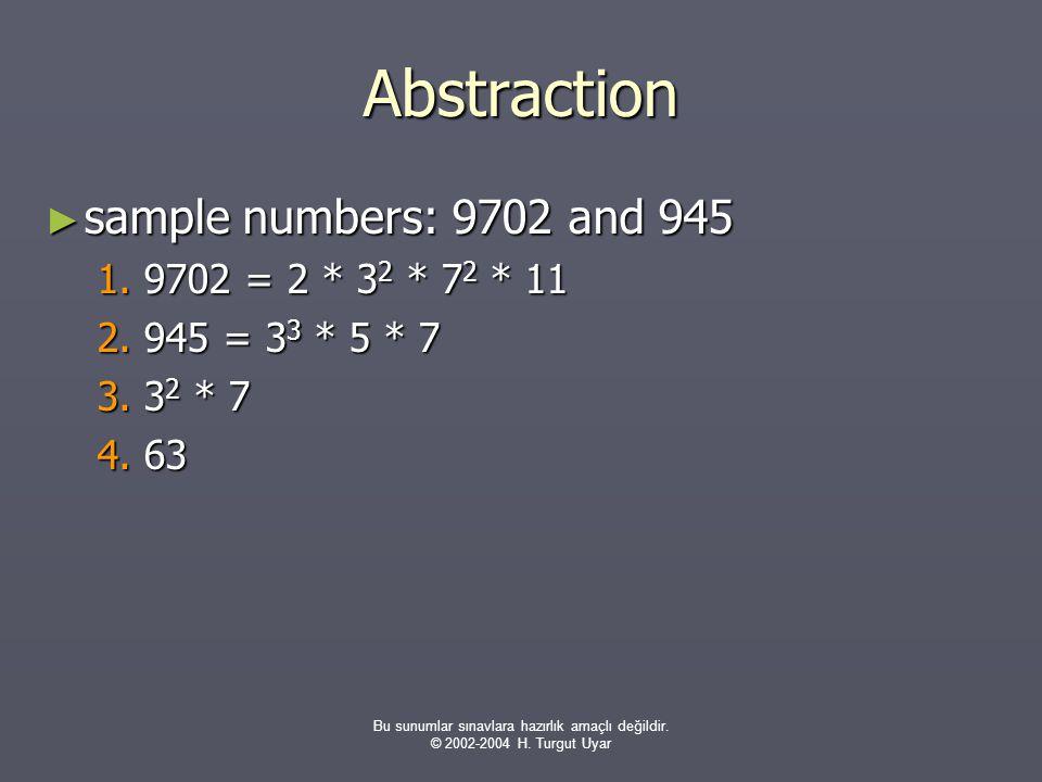 Bu sunumlar sınavlara hazırlık amaçlı değildir. © 2002-2004 H. Turgut Uyar Abstraction ► sample numbers: 9702 and 945 1. 9702 = 2 * 3 2 * 7 2 * 11 2.