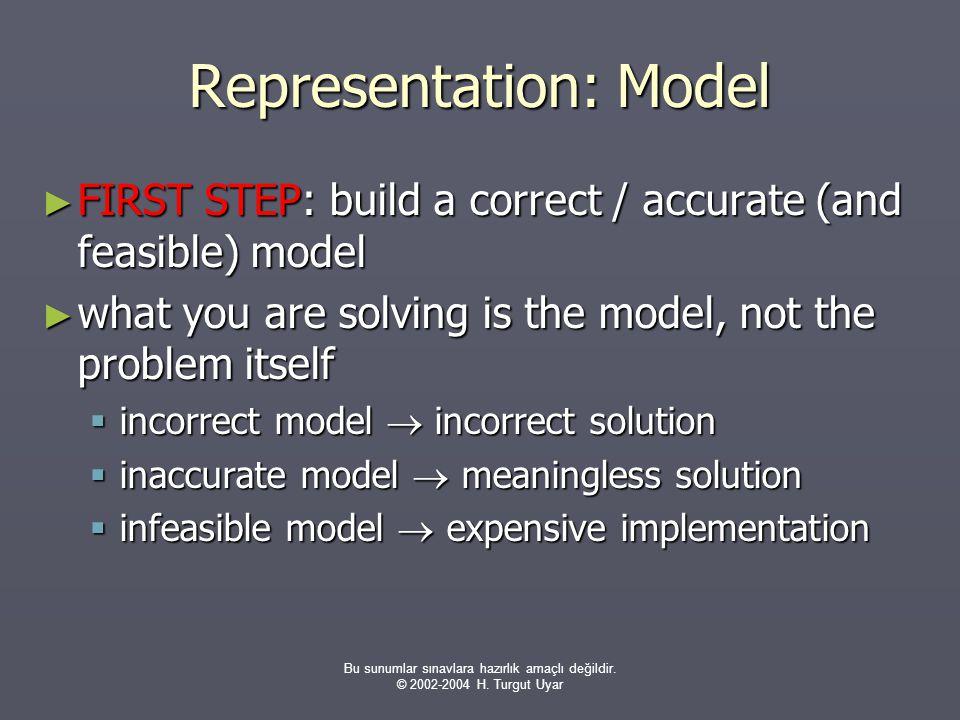 Bu sunumlar sınavlara hazırlık amaçlı değildir. © 2002-2004 H. Turgut Uyar Representation: Model ► FIRST STEP: build a correct / accurate (and feasibl