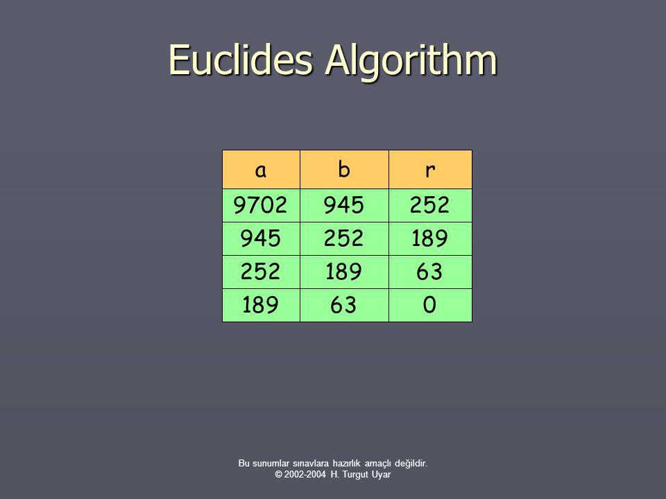 Bu sunumlar sınavlara hazırlık amaçlı değildir. © 2002-2004 H. Turgut Uyar Euclides Algorithm rab 2529702945189945252632521890 63