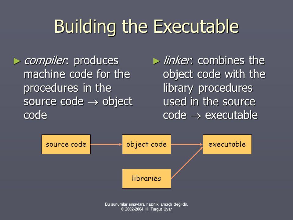 Bu sunumlar sınavlara hazırlık amaçlı değildir. © 2002-2004 H. Turgut Uyar Building the Executable ► compiler: produces machine code for the procedure