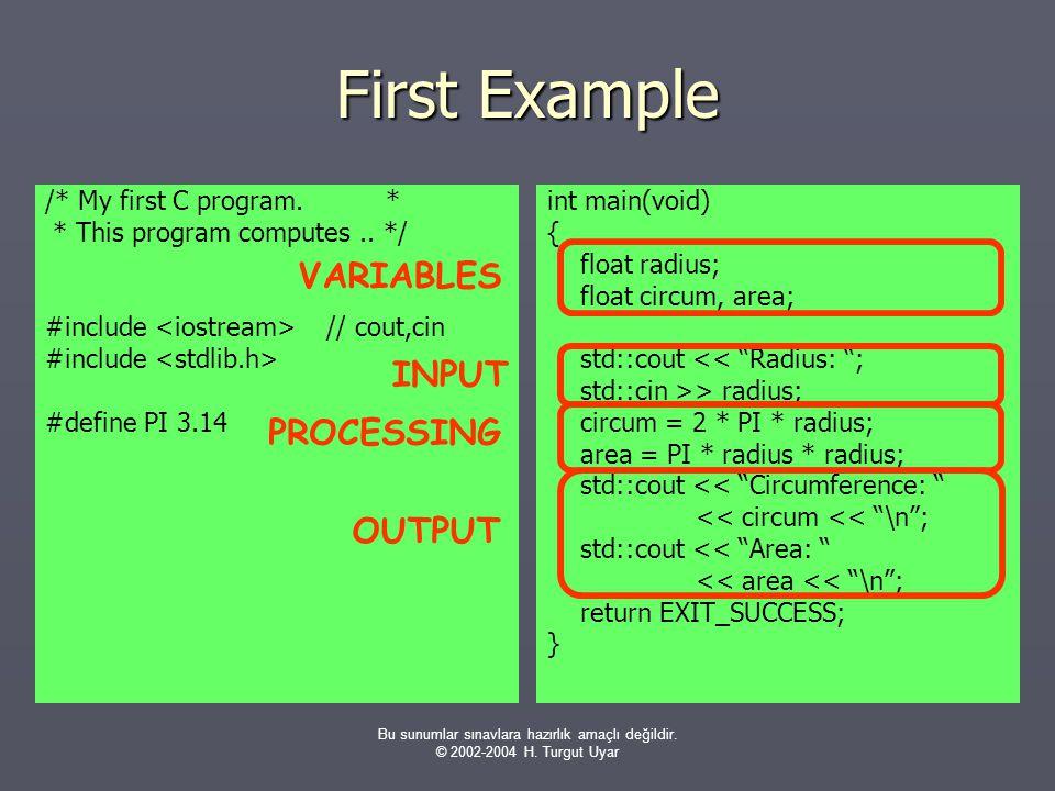 Bu sunumlar sınavlara hazırlık amaçlı değildir. © 2002-2004 H. Turgut Uyar First Example /* My first C program. * * This program computes.. */ #includ