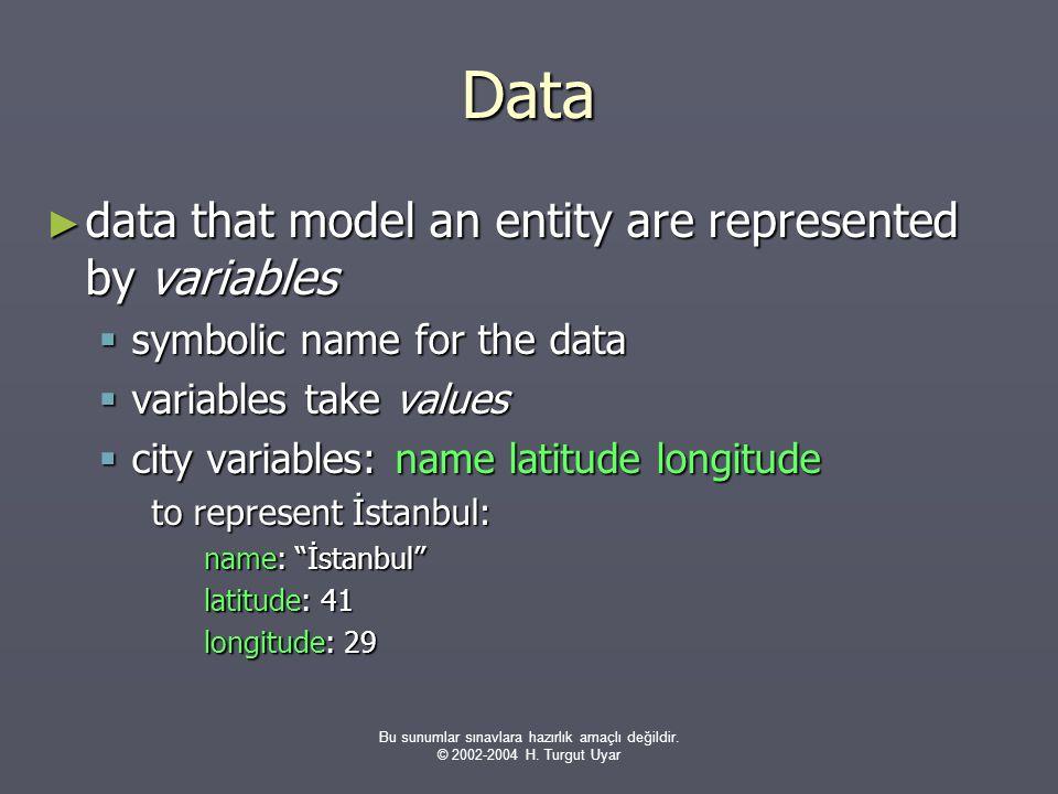 Bu sunumlar sınavlara hazırlık amaçlı değildir. © 2002-2004 H. Turgut Uyar Data ► data that model an entity are represented by variables  symbolic na