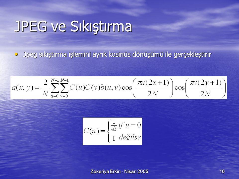 Zekeriya Erkin - Nisan 200516 JPEG ve Sıkıştırma Jpeg sıkıştırma işlemini ayrık kosinüs dönüşümü ile gerçekleştirir Jpeg sıkıştırma işlemini ayrık kos