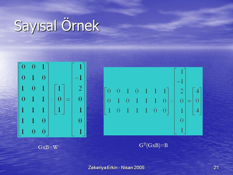 Zekeriya Erkin - Nisan 200521 Sayısal Örnek GxB=W G T (GxB)=B