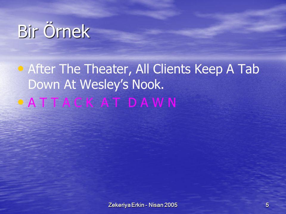 Zekeriya Erkin - Nisan 20055 Bir Örnek After The Theater, All Clients Keep A Tab Down At Wesley's Nook. A T T A C K A T D A W N