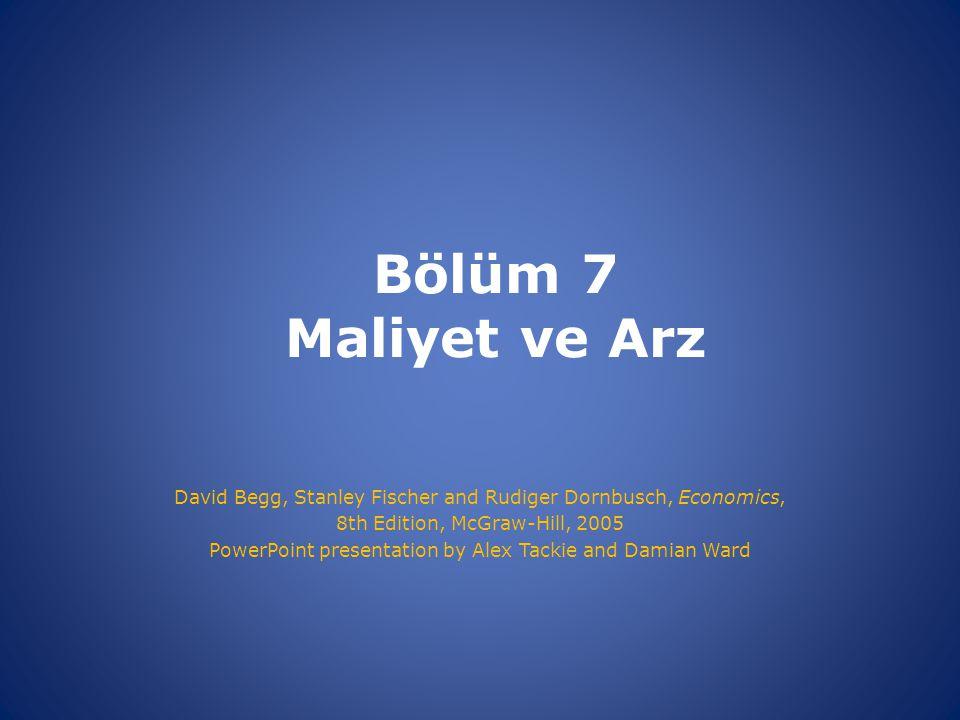 Bölüm 7 Maliyet ve Arz David Begg, Stanley Fischer and Rudiger Dornbusch, Economics, 8th Edition, McGraw-Hill, 2005 PowerPoint presentation by Alex Tackie and Damian Ward